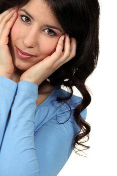 portrait of cute brunette in her twenties