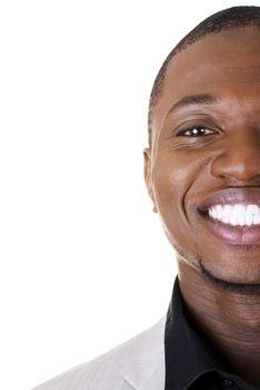 Happy smart black businessman smiling, isolated on white.