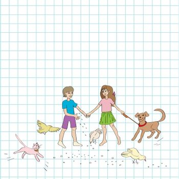 Hand drawn illustration of a group of kids and domestic animals, doodles over a math paper