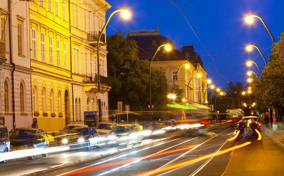 Transport on Vltava Embankment at night