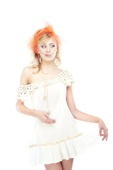 Stylish woman posing on a white background