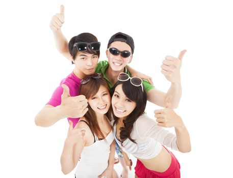 Group of summer young people with thumb up