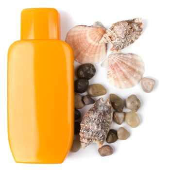 lotion and some pebble and shells