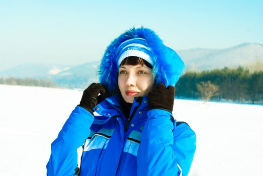 pretty woman outdoor in wintertime
