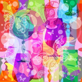 Colorful translucent wine glasses