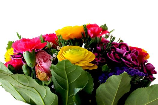 Bouquet of various flowers  isolated on white background