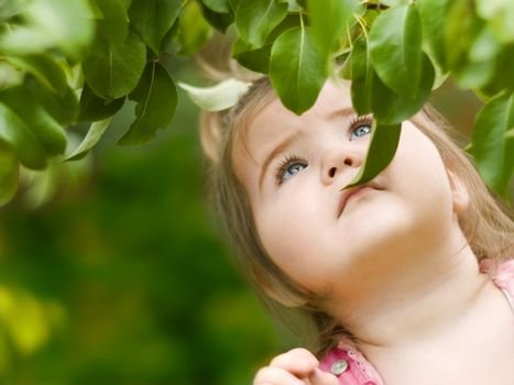 Little girl looking for the pear