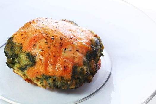 Baked salmon stuffed with spinach.