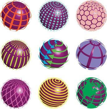 illustration nine symbols of the planet on white background