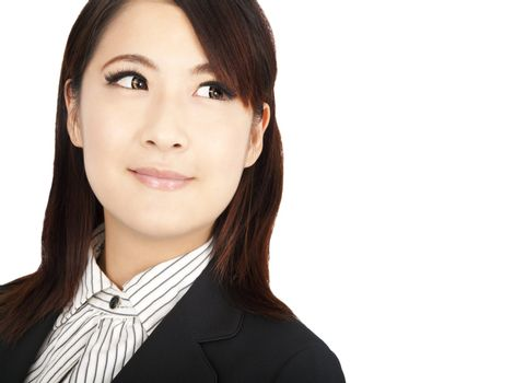 smart asian businesswoman looking at copyspace