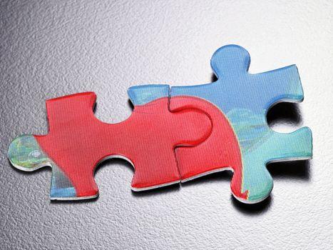 Studio Shot of Jigsaw Puzzle Pieces