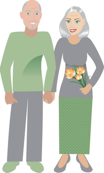 Vector Illustrtion of an old happy couple in love.