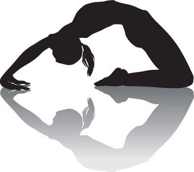 black and white illustration of women yoga instructor