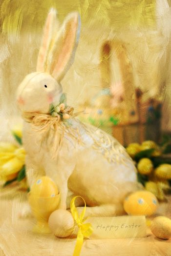 Easter bunny and eggs with a painterly effect