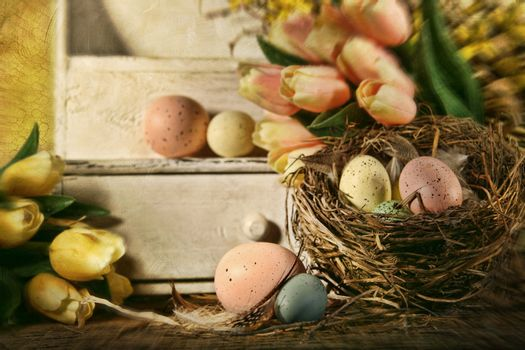 Eggs and tulips with nostalgic feeling for Easter