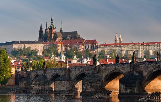 Closer view to Charles Bridge and Prague Castle, Czech Republic