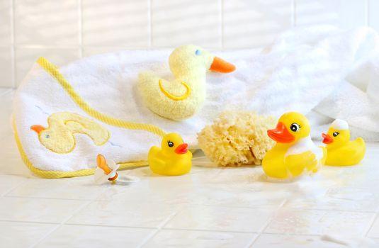 Bathtime for baby with bath essentials