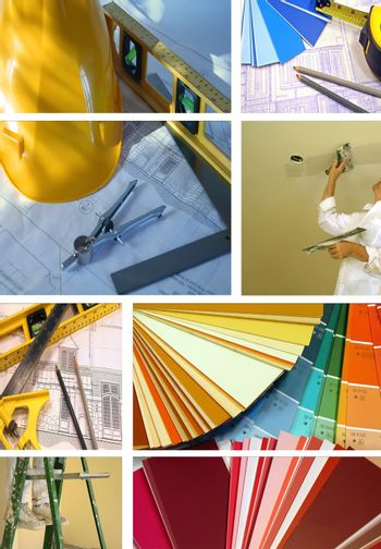 Collage of various photos for construction and home improvement