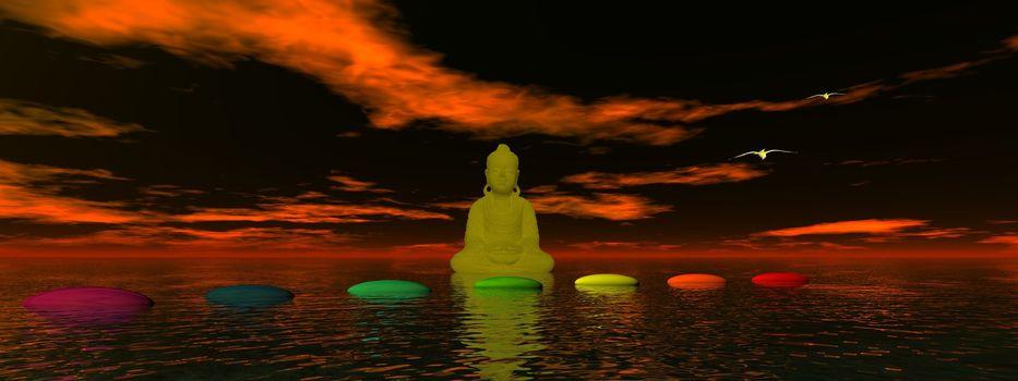 steps chakra and buddha