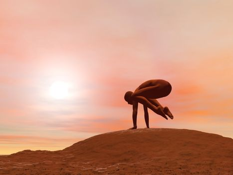Young woman doing crane pose, kak asana, while practicing yoga outside in front of sunset