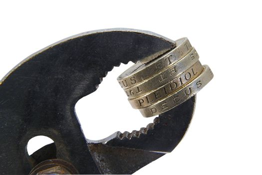 Coins held in a vice