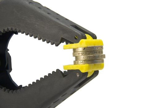 Coins in a clamp