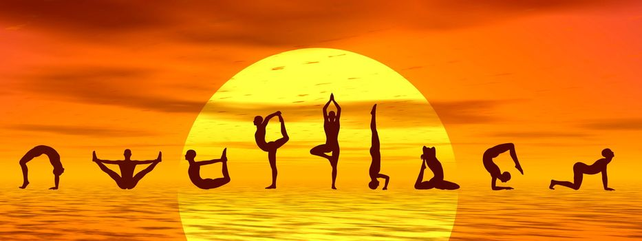 Silouhettes of people doing yoga asanas by sunset - 3D render