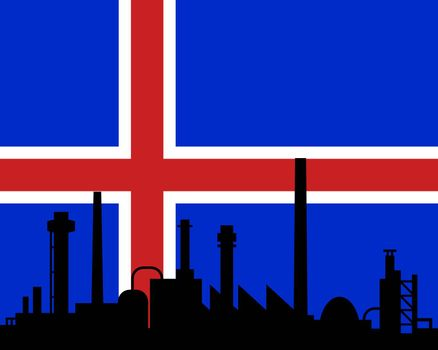 Industry and flag of Iceland