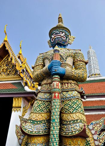 The Thai style giant at the Temple of Emerald Buddha