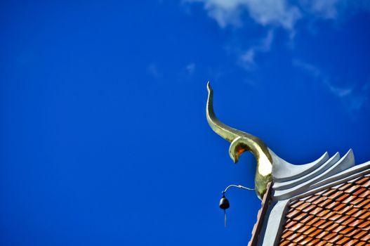 The beuatiful peak of Thai temple roof