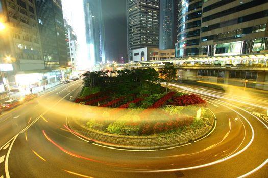 Roundabout traffic in Hong Kong at night