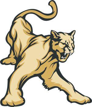 Cougar Mascot Body Vector Illustration
