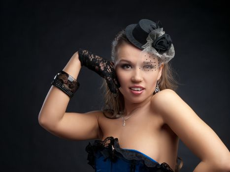 Woman in vintage dance clothes