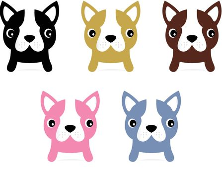 Adorable doggie set. Vector Illustration