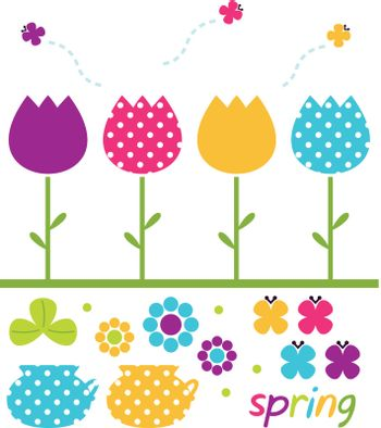 Cute spring design elements. Vector Illustration