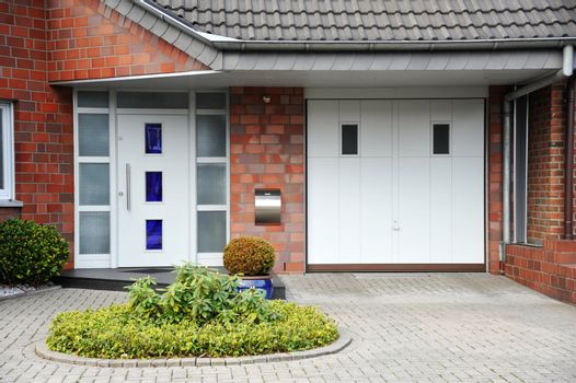 Modern entry door to the house