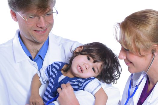 Doctors taking care of toddler