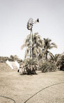 Vintage Windmill on the field