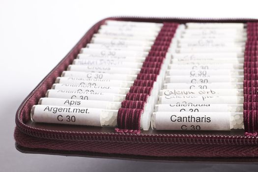 midwifes equipment. many homeopathic globule ordered by name. No product names, just common names of homeopathic medicine