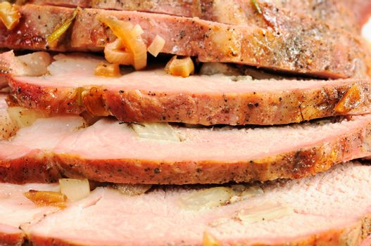 Roast pork close up photo. Great background.