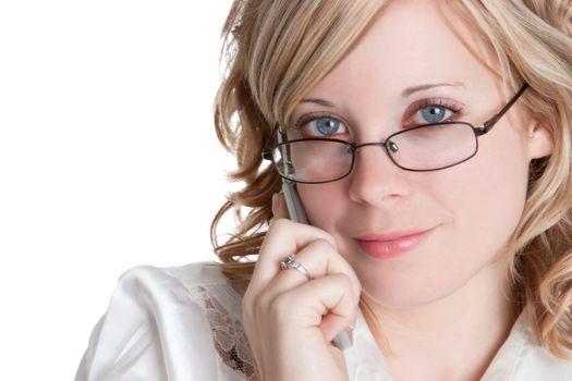 Beautiful blond phone woman smiling