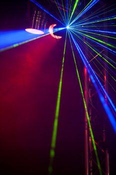 Laser lights on a dance floor
