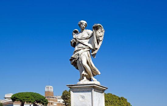 statue of an angel. Bridge St Angelo (Rome Italy)