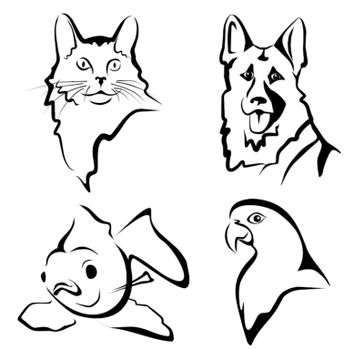 set of pets portraits in simple black lines