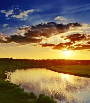 sundown over river
