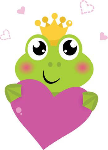 Funny frog for Valentine's Day. Vector cartoon Illustration