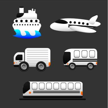 transportation icons isolated over gray background. vector illustration