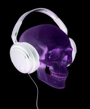 spooky cranium with headphones