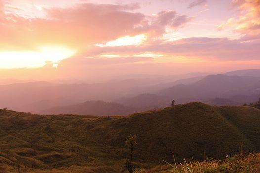 Nice sunset scene in mountains, Thailand.