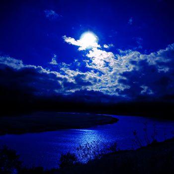 moonlight over river